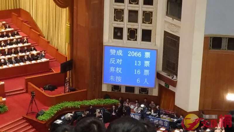 表決通過增選梁振英為全國政協副主席 香港文匯網記者 朱晉科 攝