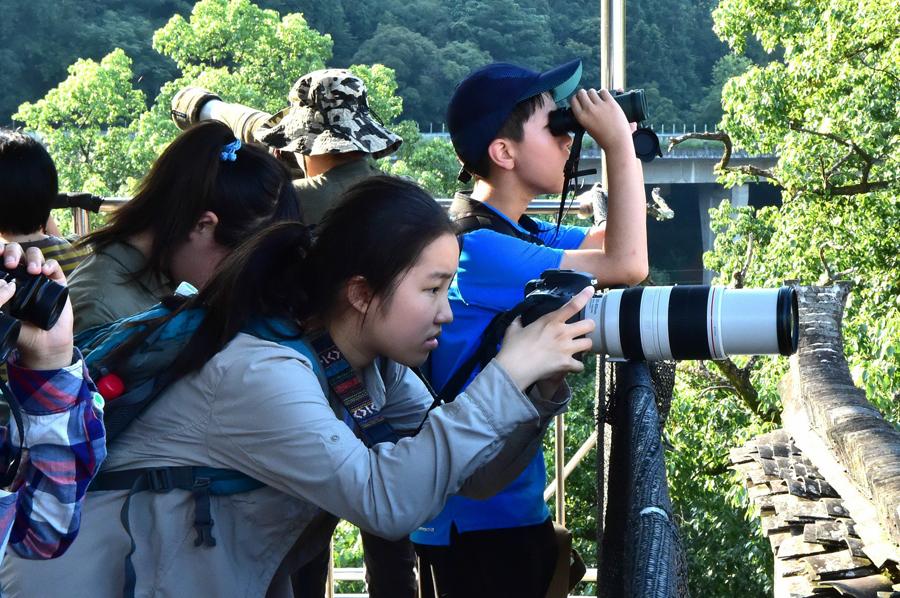 拍攝鳥類的青少年
