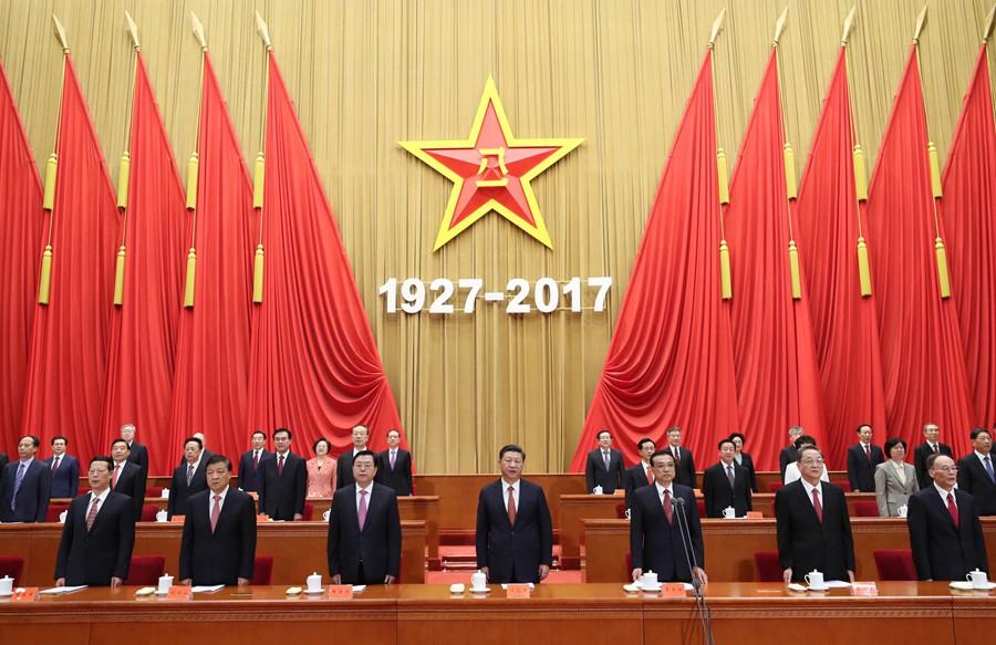 8月1日,慶祝中國人民解放軍建軍90周年大會在北京人民大會堂隆重舉行。中共中央總書記、國家主席、中央軍委主席習近平和李克強、張德江、俞正聲、劉雲山、王岐山、張高麗等出席大會。新華社