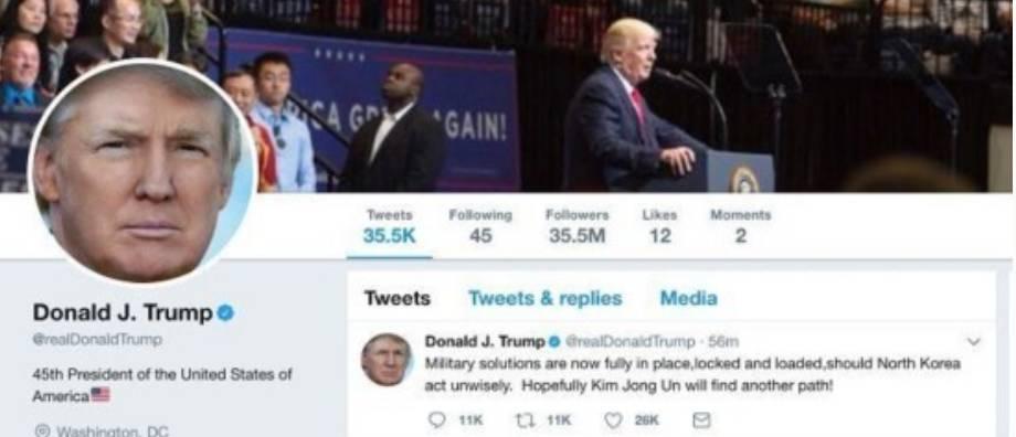 特朗普推特:如果朝鮮作出不明智的選擇,美國軍隊已經「裝彈上膛準備開火」