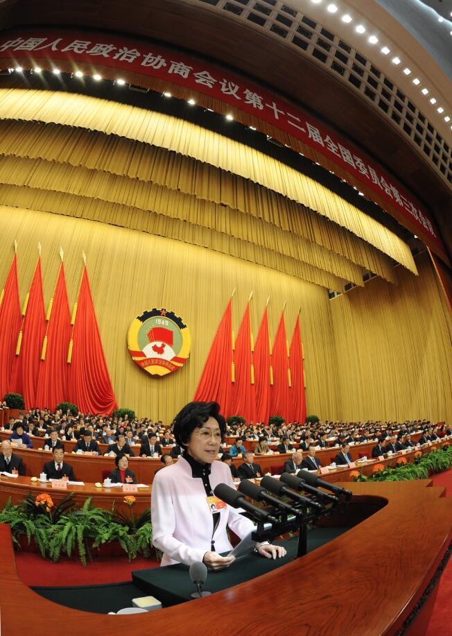2015年3月10日,全國政協十二屆三次會議,全國政協委員李東東代表新聞出版界作大會發言,受訪者供圖