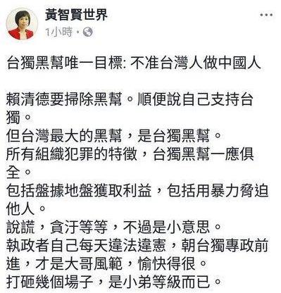 台灣名嘴黃智賢指「台獨」是最大黑幫(網絡圖片)