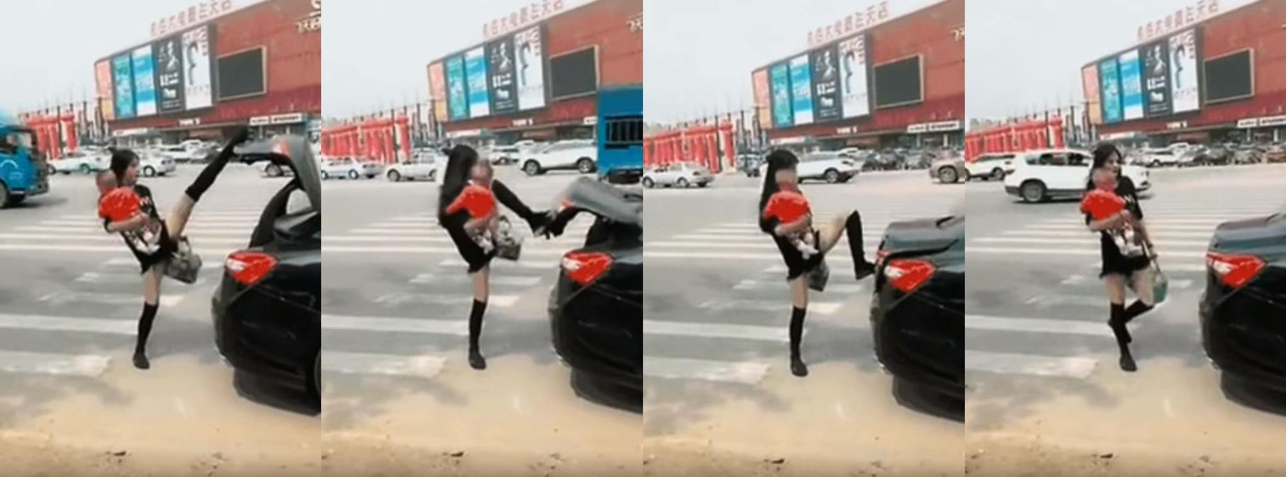辣媽「一字馬」關車尾箱(視頻截圖)