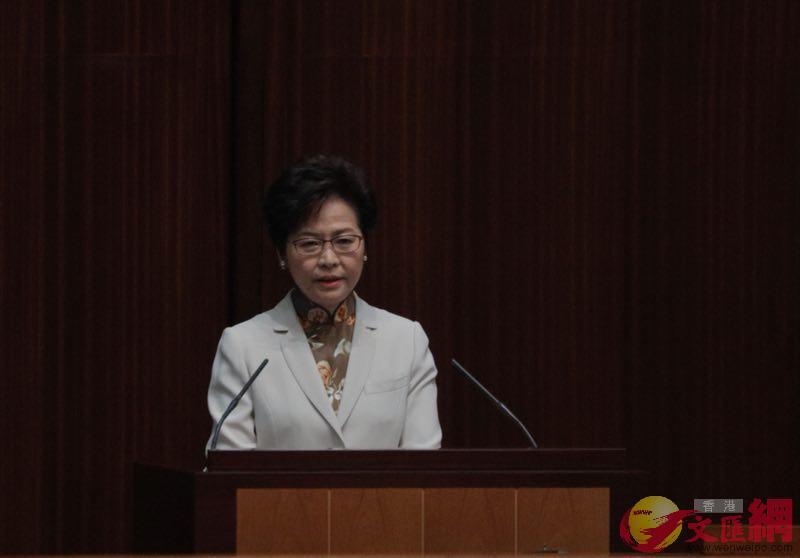 行政長官林鄭月娥早上發表首份施政報告。麥鈞傑攝
