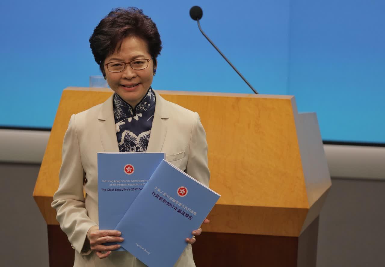 香港特區行政長官林鄭11日發表任內首份《施政報告》(大公文匯全媒體記者麥鈞傑攝)