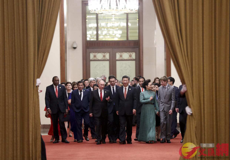 2017年5月14日,中國國家主席習近平在北京人民大會堂舉行「一帶一路」國際合作高峰論壇歡迎宴會。