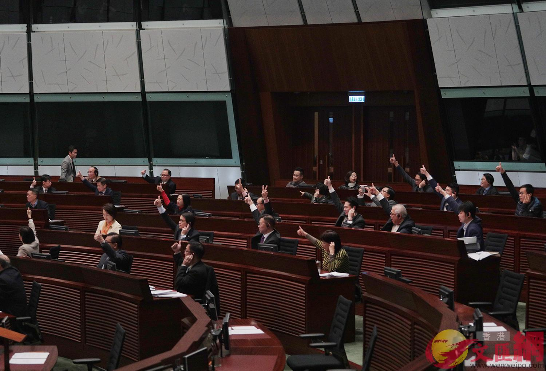 表決期間,建制派議員舉手為議規修訂案點讚(大公文匯全媒體記者麥鈞傑攝)