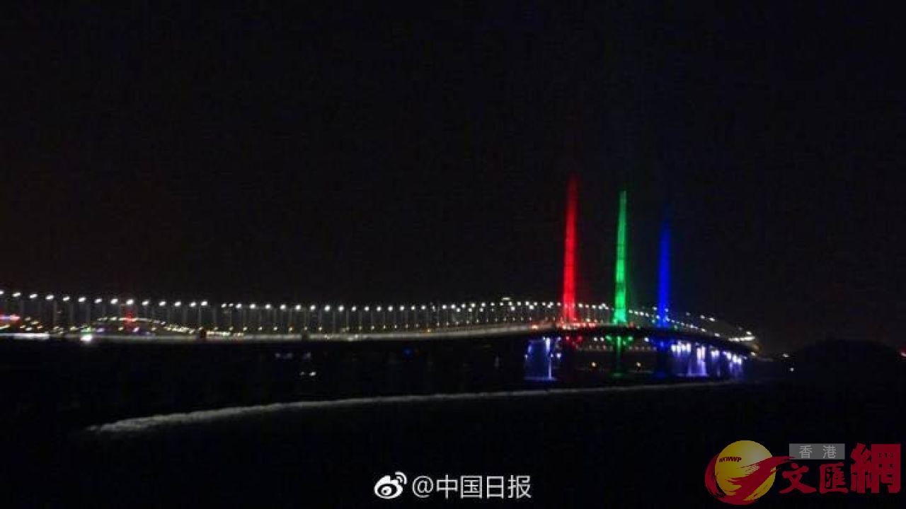 ■江海航道橋路段全橋夜景照明以紅、綠、藍及紫為主色設計。