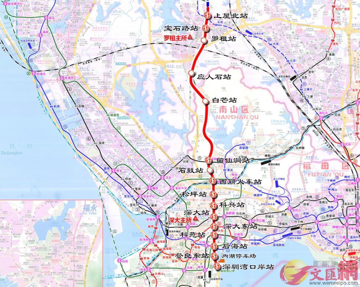深圳灣口岸將直通地鐵 圖為13號線的路線規劃圖