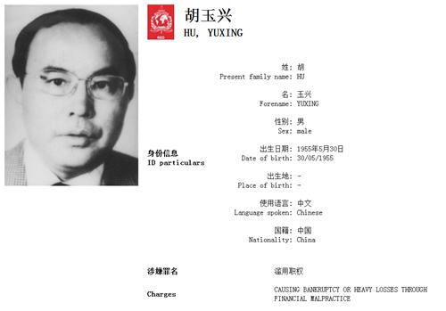 胡玉興。(國際刑警組織中國國家中心局網站)