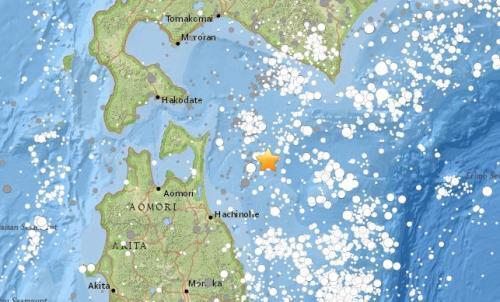 日本近海發生6.2級地震。來源:美國地質勘探局網站截圖。
