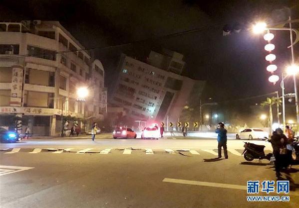 地震後的花蓮街頭(2月7日攝)。新華社