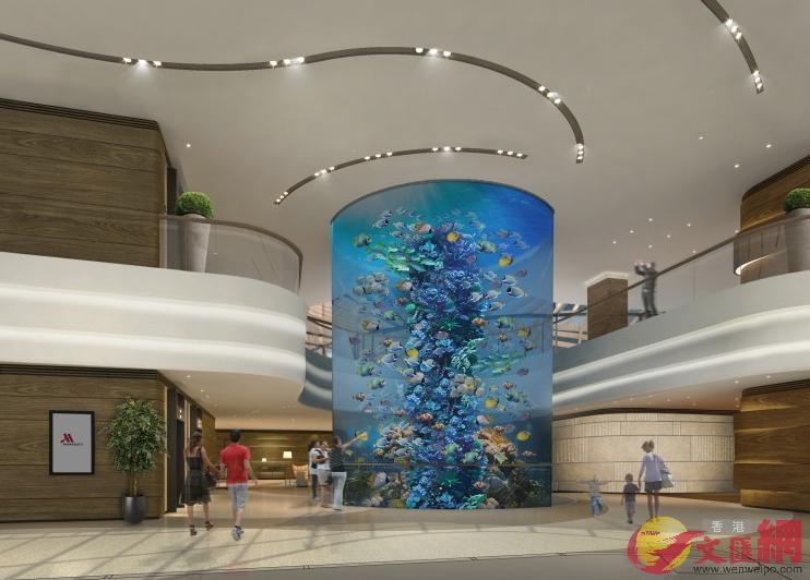酒店設有16米高的圓柱水族館。(海洋公園設計圖)