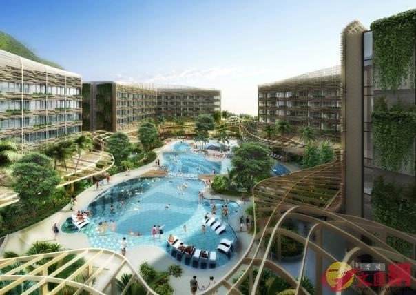 圖為礁湖主題特色的游泳池(海洋公園設計圖)