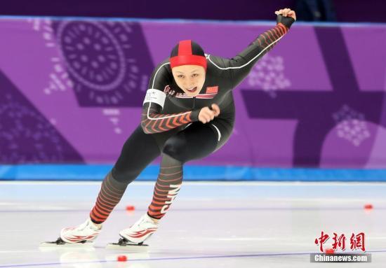 中國選手張虹在比賽中。