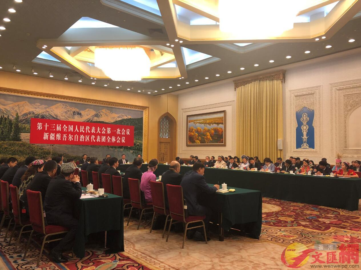 十三屆全國人民代表大會一次會議新疆代表團全體會議今日召開。/唐川閣攝