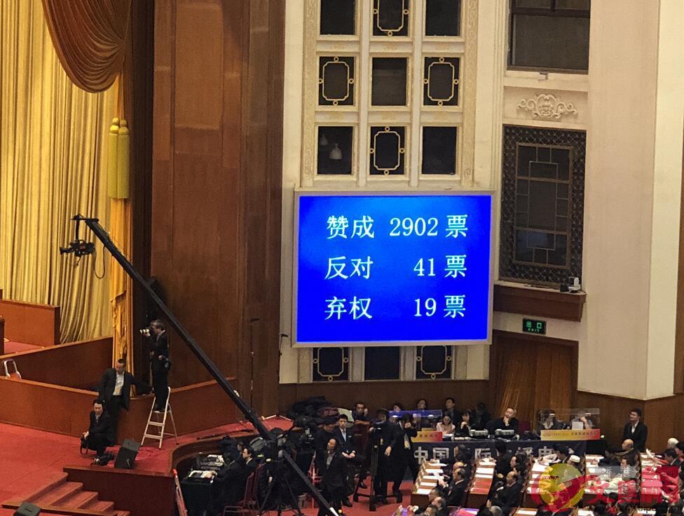 2017國民經濟和社會發展計劃執行情況與2018年國民經濟和社會發展計劃決議草案表決數字(記者 譚笑 攝)