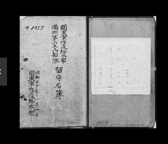 被公開的「731部隊」名冊封面。