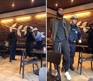 兩名男子被警察帶走(視頻截圖)
