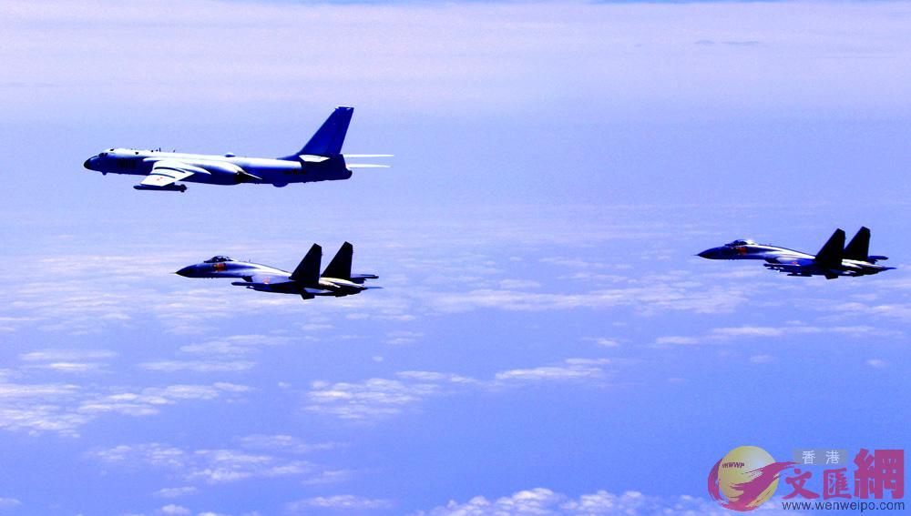 圖:中國空軍轟-6K等多型戰機19日開展海上方向實戰化軍事訓練/資料圖片