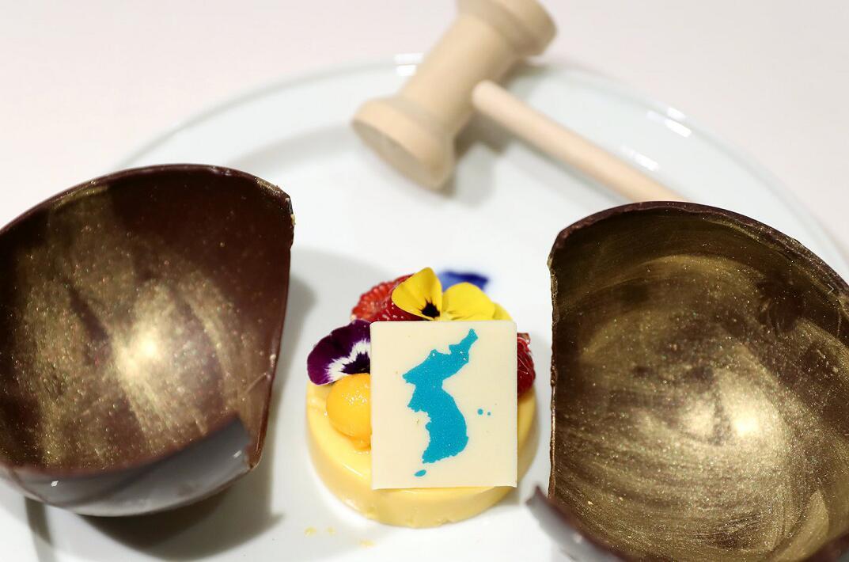 朝韓峰會晚宴菜單中的芒果慕斯甜點(資料圖片)