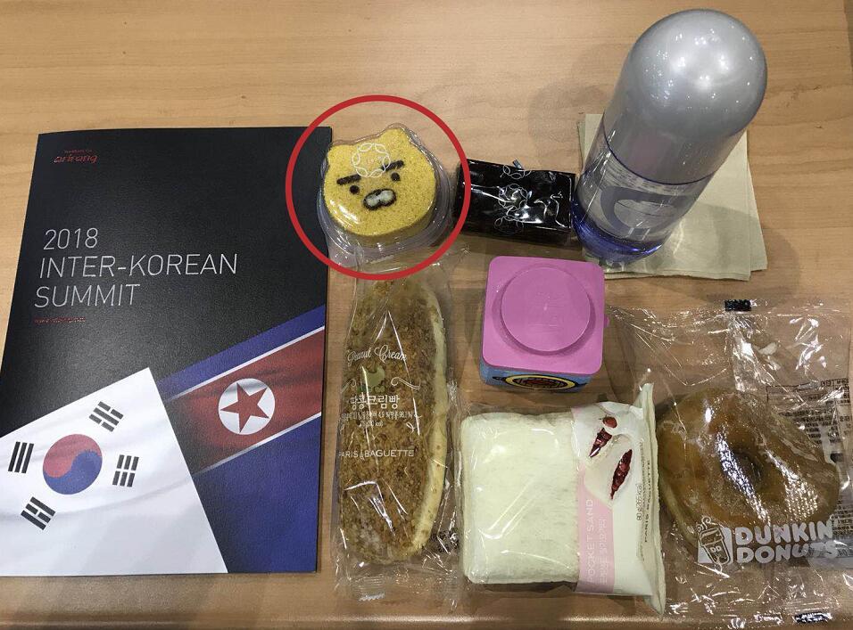 峰會新聞中心提供給記者的免費午餐中,可以看見有一塊動物蛋糕(全媒體記者宋啟春攝)