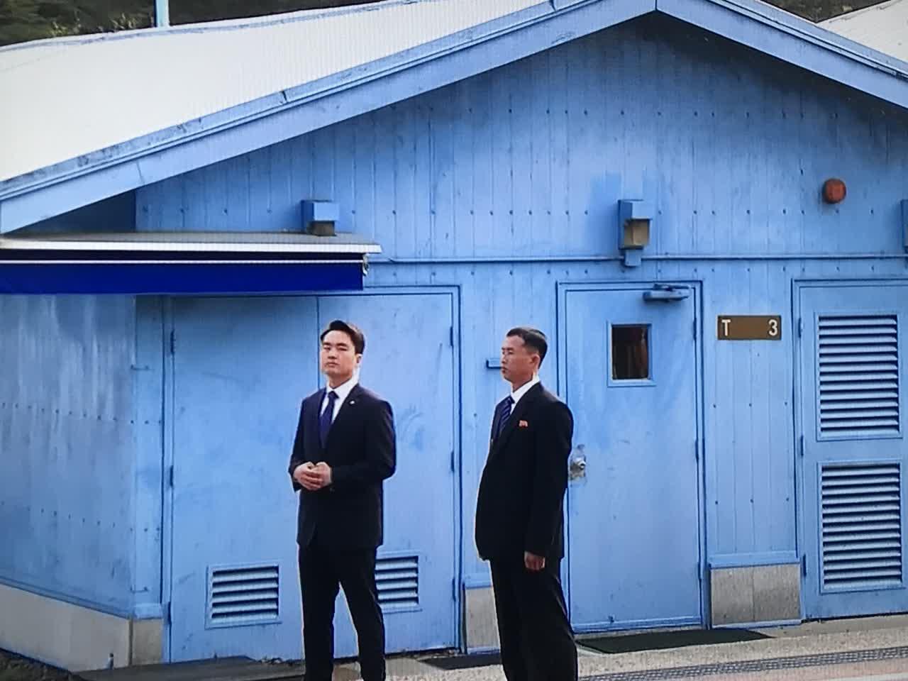 韓國和朝鮮雙方安保人員 韓國電視台截圖