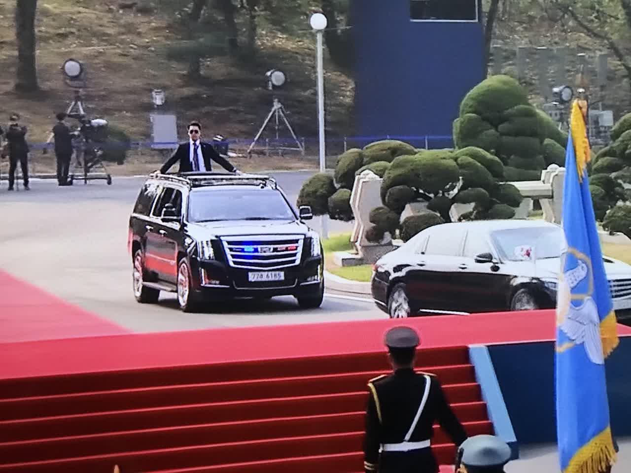 韓國總統文在寅已到達板門店 韓國電視台截圖