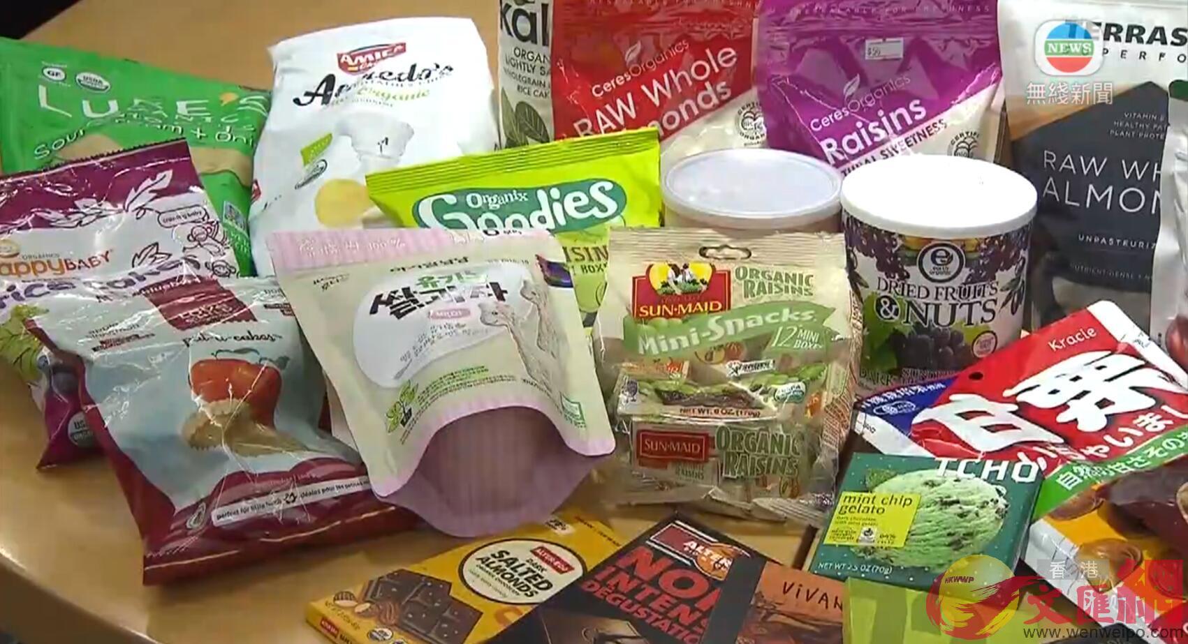 消委會測試市面30款標示「有機」的常見零食樣本,結果顯示部分零食仍屬高糖高脂(電視截圖)