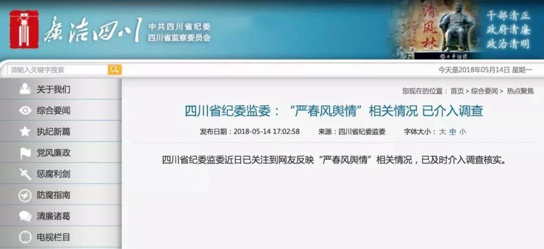 四川省紀委監委網站截圖