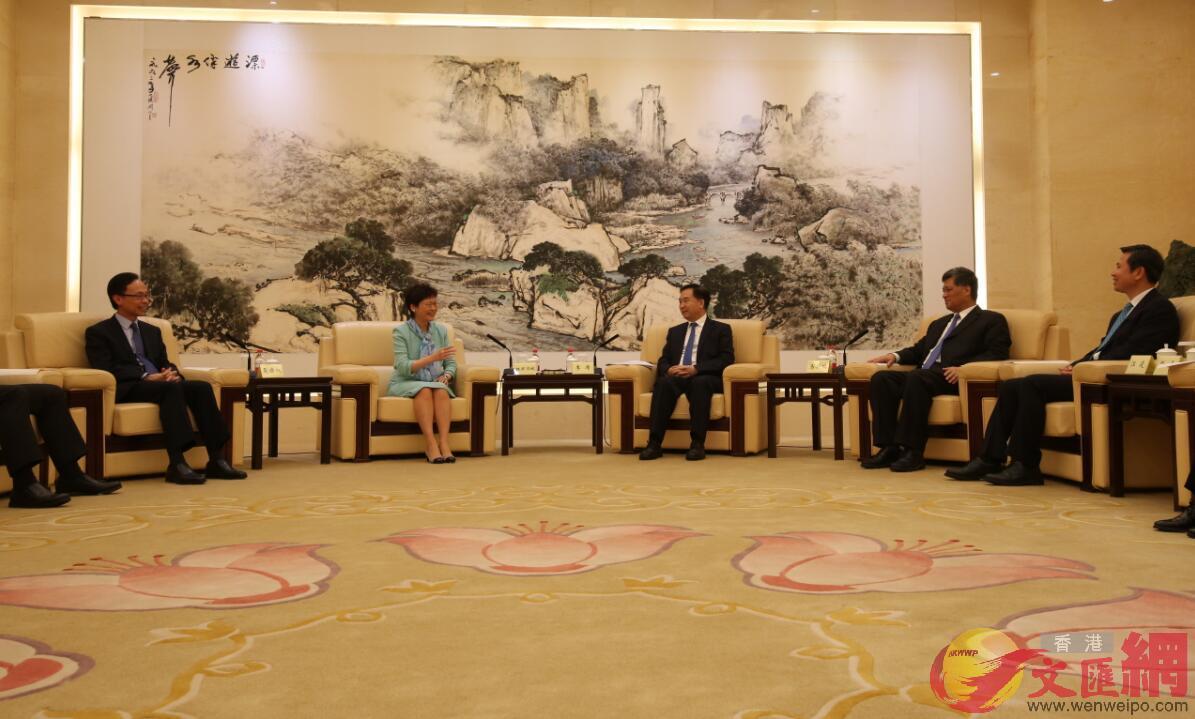林鄭同廣東省委書記李希、省長馬興瑞會面,探討粵港合作事宜