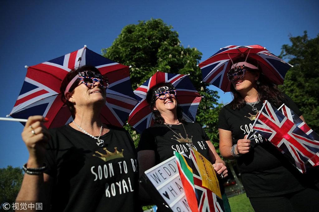 哈里王子婚禮被英國民眾視為2018年英國的「國婚」,常住人口13萬的溫莎小鎮將迎來觀禮人潮。(視覺中國)
