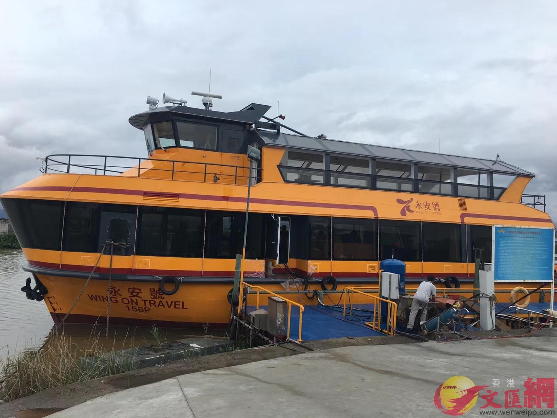 「廣東造」遊覽船目前基本完工,下月交付香港維多利亞港使用。記者 方俊明 攝