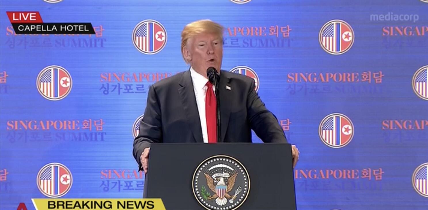 特朗普表示,朝鮮戰爭將很快結束(電視截圖)