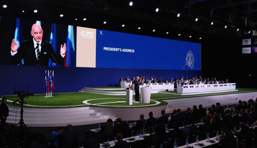 國際足協(FIFA)第68屆大會通過決議,由美國、加拿大和墨西哥聯合舉辦2026年世界盃(國際足協官網截圖)