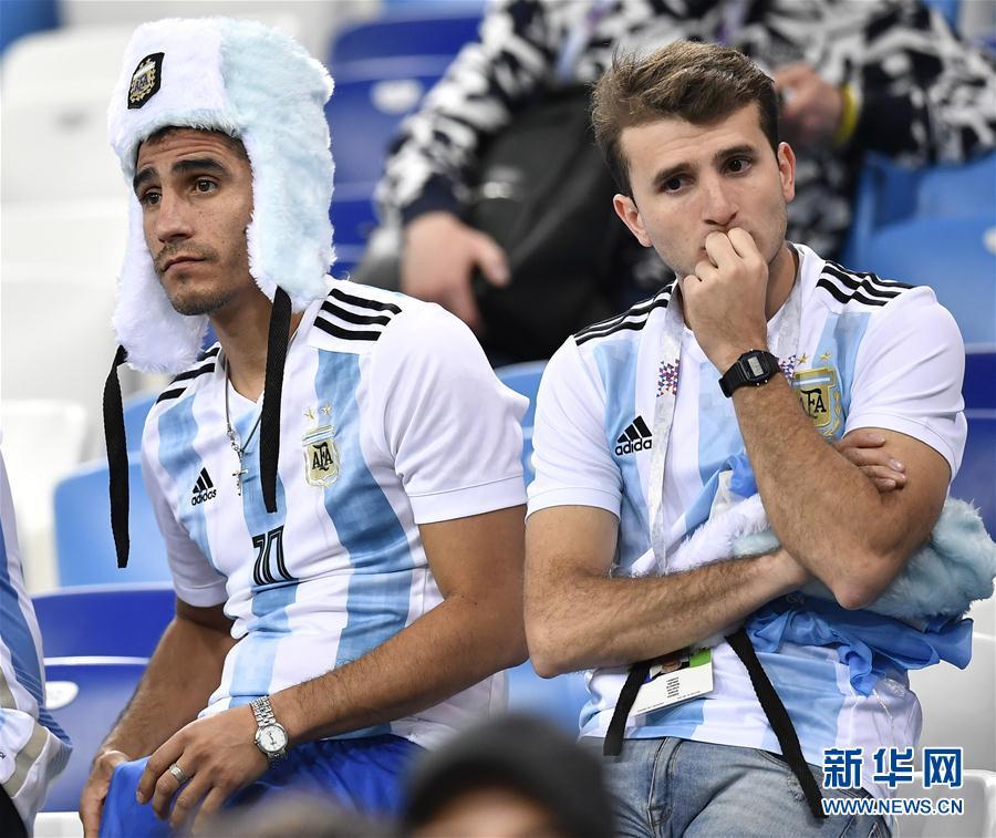 6月21日,阿根廷隊球迷在比賽後。 當日,在下諾夫哥羅德進行的2018俄羅斯世界盃足球賽D組小組賽中,克羅地亞隊以3比0擊敗阿根廷隊。新華社