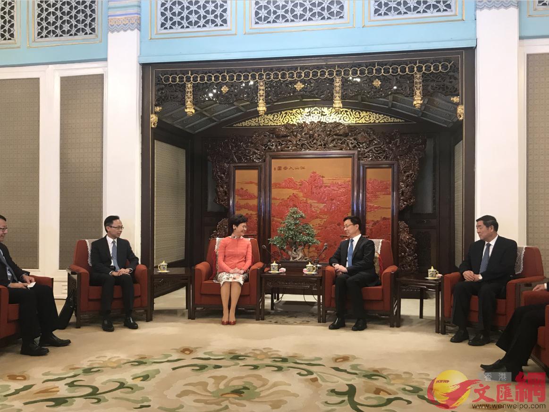 林鄭月娥晤韓正 感謝中央一如既往支持香港