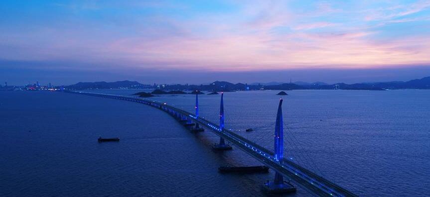 無人機拍攝的港珠澳大橋。