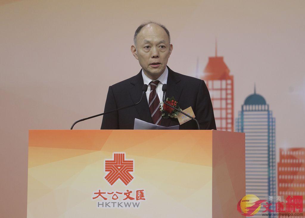 霍震寰表示香港未來應充分利用「一國兩制」優勢,推動自身繁榮發展。( 全媒體記者麥鈞傑攝)