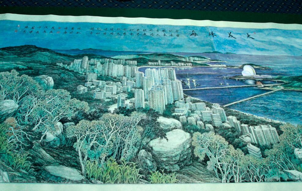 整幅畫卷以中國傳統水墨畫為基礎,工筆重彩及西洋水彩畫技法融會貫通,使城市景觀靈動而立體。(方俊明攝)