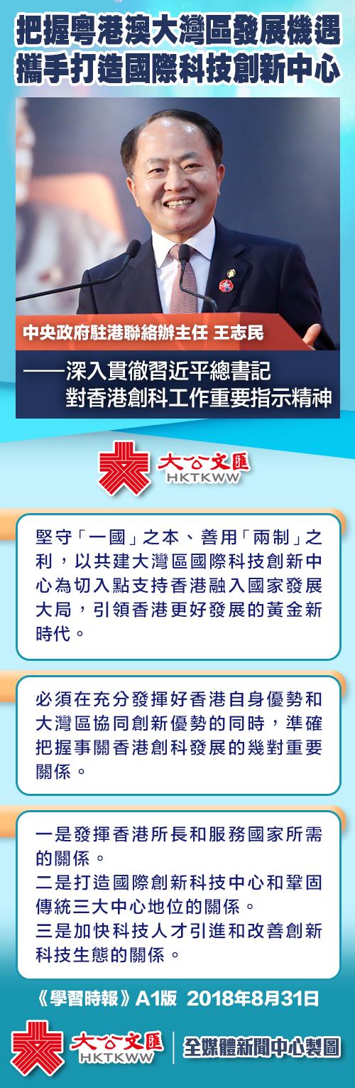 王志民:把握粵港澳大灣區發展機遇 攜手打造國際科技創新中心