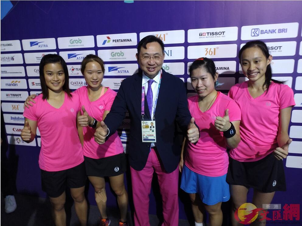 亞運壁球女子團體賽,港隊在決賽以場數2:0擊敗印度奪金(記者 張銳 攝)