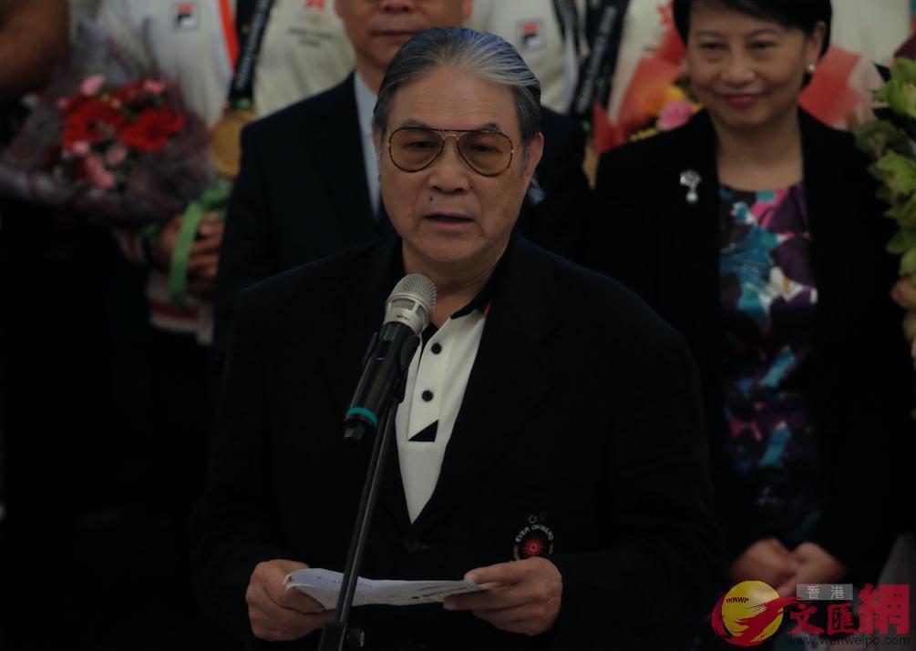 中國香港體協暨奧委會會長霍震霆出席儀式並致辭