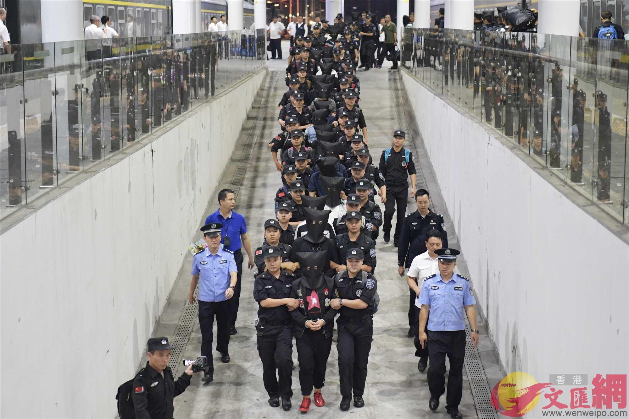 9月9日晚,專案組將詐騙案31名主要犯罪嫌疑人全部押解回深(龍崗警方供圖)
