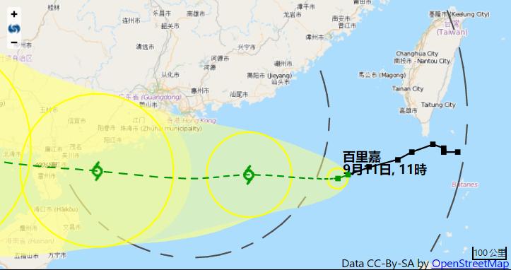 熱帶風暴「百里嘉」集結在香港東南偏東方向約460公里(香港天文台)