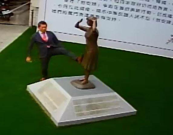 藤井實彥腳踹台南「慰安婦」銅像。(監控截圖)