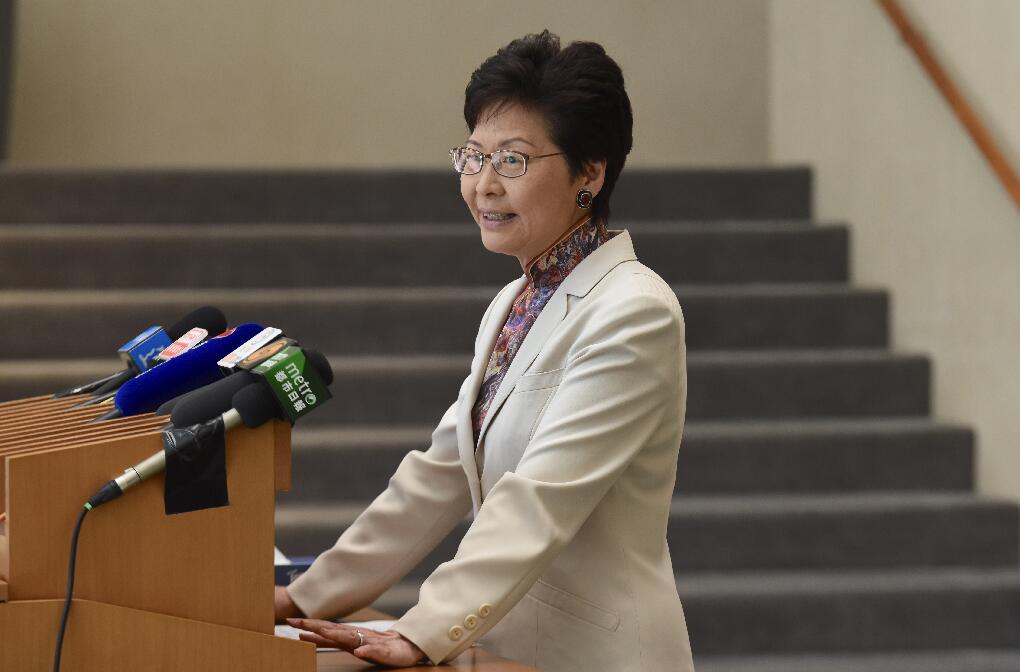 林鄭月娥出席行政會議前會見傳媒(香港中通社)