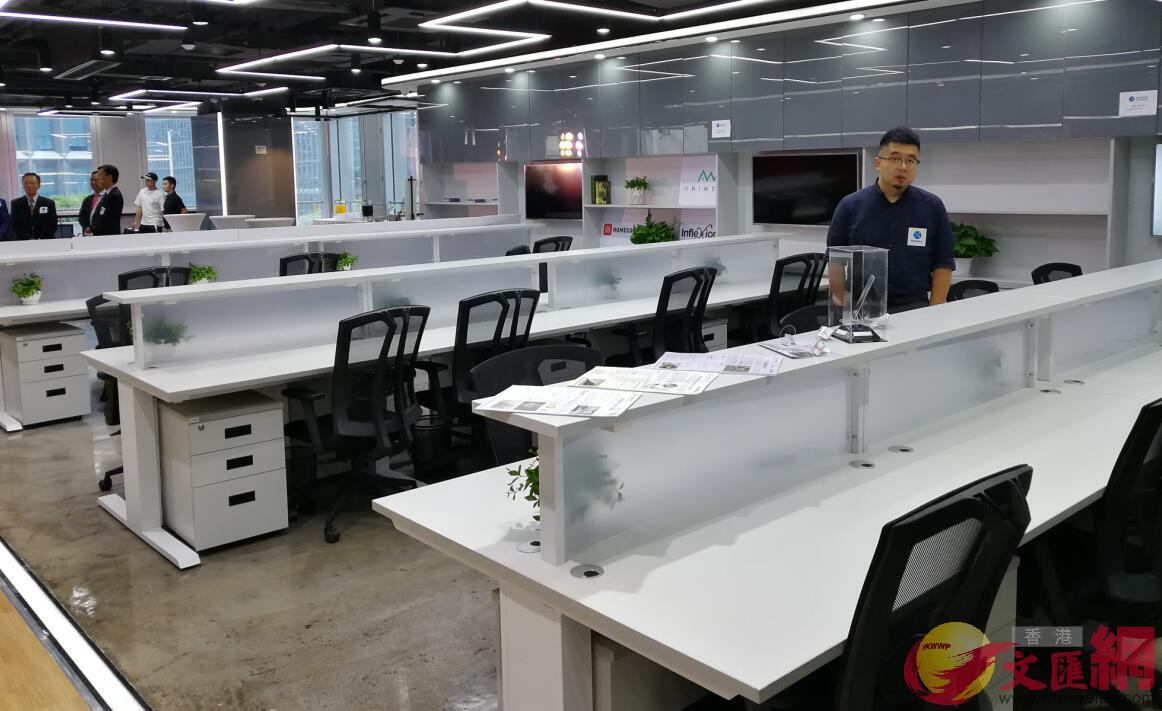 「粒子創投加速器•深圳基地」為初創企業提供辦公場所。(記者黃仰鵬 攝)