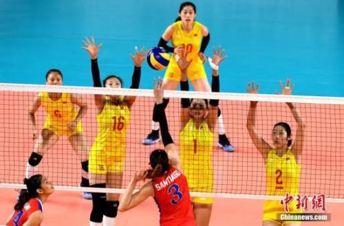 資料圖:女排世錦賽中國隊3:1逆轉保加利亞,喜迎四連勝。中新社