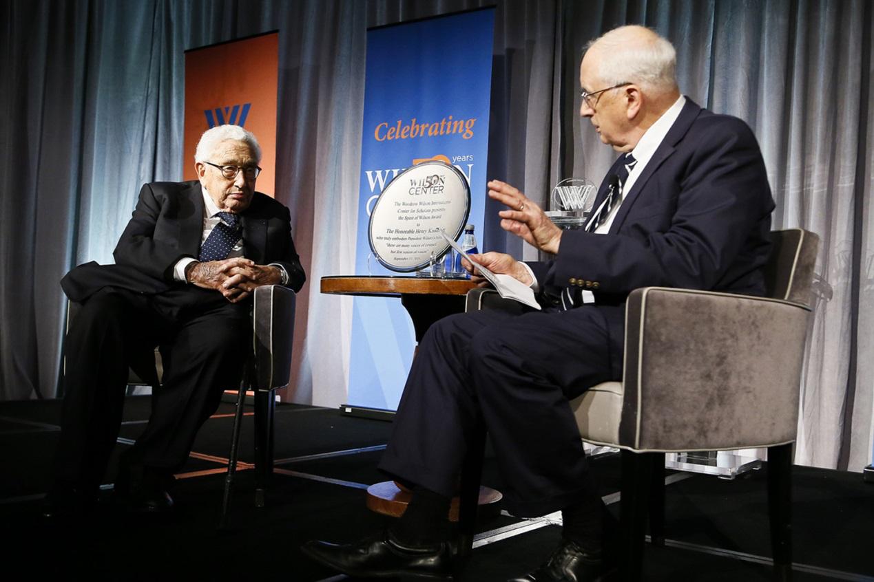 9月13日,基辛格在華盛頓智庫威爾遜中心出席活動,分享對當前中美關係的看法。(圖片來自威爾遜中心官網)